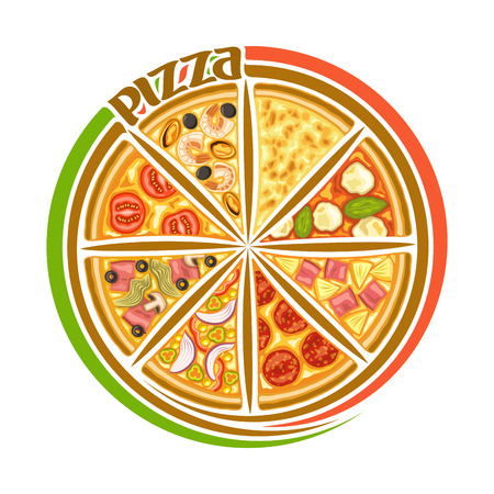 Vector logo for Italian Pizza, round sign for pizzeria with 8 sliced pieces different kinds of baked pizza top view.