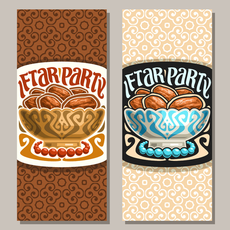Vector greeting card for Ramadan Iftar Party, vertical banner with pile of islamic fasting food - dry dates in old bowl and prayer beads or muslim rosary, original brush typeface for words iftar party
