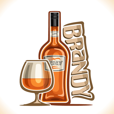 Vector illustration of alcohol drink Brandy, poster with brown bottle of premium fruit calvados and half full snifter glass, original typeface for word brandy, design contour composition for bar menu. Vettoriali