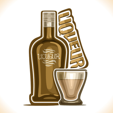 Vector illustration of alcohol drink Liqueur, poster with brown bottle of premium irish coffee sweet booze and full glass tumbler, original typeface for word liqueur, outline composition for bar menu. Illustration