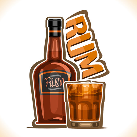 Ilustración de vector de bebida alcohólica Ron, vieja botella marrón de bebida alcohólica cubana de primera calidad, vaso lleno con cóctel oscuro y tormentoso, tipografía original para palabra ron, composición de esquema para el menú de la barra.