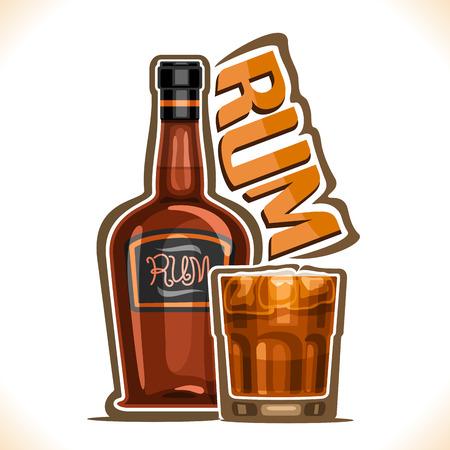 アルコールドリンクラム、プレミアムキューバブーズの古い茶色のボトル、暗くて嵐のカクテルを持つフルタンブラーグラス、ワードラムのためのオリジナル書体、バーメニューのアウトライン構成のベクターイラスト。