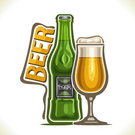 Vector illustration of alcohol drink Beer, poster with green bottle of bavarian lager and full snifter glass with foamy craft ale, original typeface for word beer, silhouette composition for pub menu.