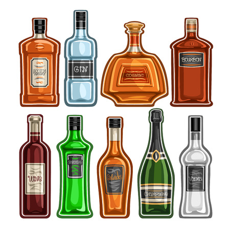 Vector set of different Bottles, 9 full glass containers with colorful premium alcohol drinks various shape, collection cartoon icons of hard liquor bottles for bar menu isolated on white background.