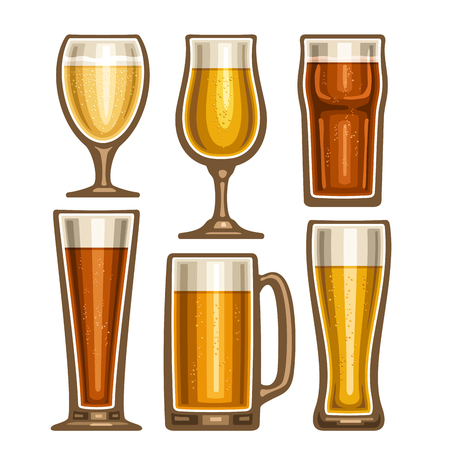 Vector set of different Beer glassware, 6 full glass cups with yellow and brown fizzy beverages various shape, collection icons of alcohol drinks lager and pilsner beer isolated on white background. Illustration