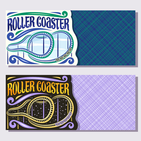 Vector banners for Roller Coaster with copy space, cartoon train go down in loop of twist rollercoaster in amusement park, original brush typeface for word roller coaster on day and night background