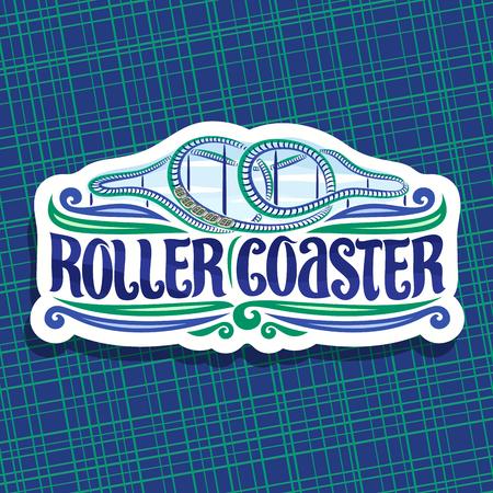 Logo vectoriel pour Roller Coaster, signe de papier découpé avec train de dessin animé monter en boucle de montagnes russes torsadées dans un parc d'attractions, police de caractères originale pour les mots roller coaster sur fond de ciel nuageux.