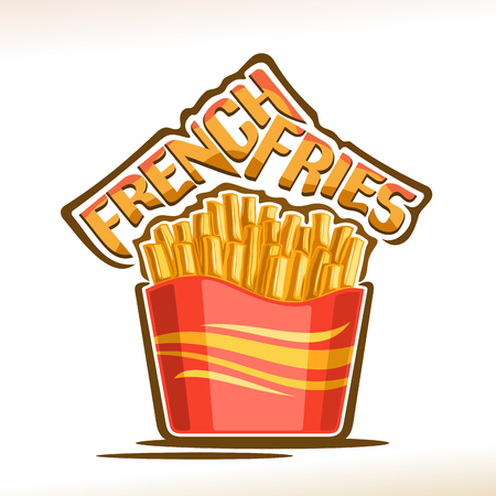 Vector logo for French Fries, poster with fried crispy potato sticks in red carton box, original typeface for words french fries, isolated illustration of unhealthy meal for fast food restaurant menu