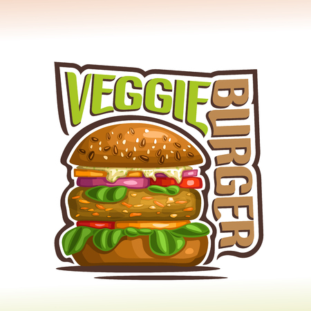 Vector for Veggie Burger, on poster bun with quinoa seeds, bean patty and vegetables with leaf of spinach in hamburger, original typeface for words veggie burger, illustration for fast food cafe.