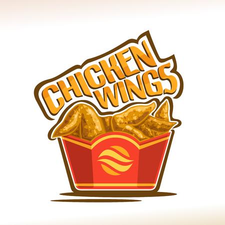Vector de alitas de pollo, cartel con crujiente pollo frito de Kentucky en caja de cartón roja, tipo de letra original para palabras alitas de pollo, ilustración de la etiqueta en blanco para el menú de cafetería de comida rápida americana. Ilustración de vector