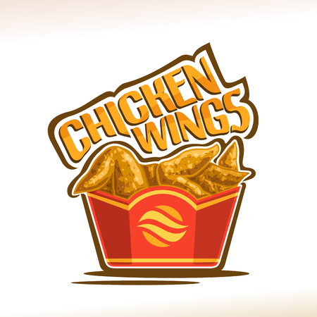 Vector for Chicken Wings, poster with crispy kentucky fried poultry in red carton box, original typeface for words chicken wings, illustration of label on white for american fastfood cafe menu.