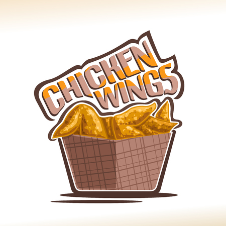Vector logo for Chicken Wings, poster with crispy kentucky fried poultry in brown carton box, original typeface for words chicken wings, illustration of label on white for american fastfood cafe menu.