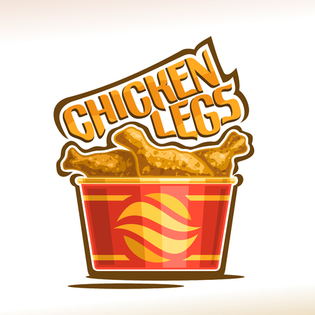 Vector logo for crispy Chicken Legs, poster with fatty barbecue drumsticks in red carton mini bucket, original typeface for words chicken legs, illustration of label for american fastfood cafe menu.