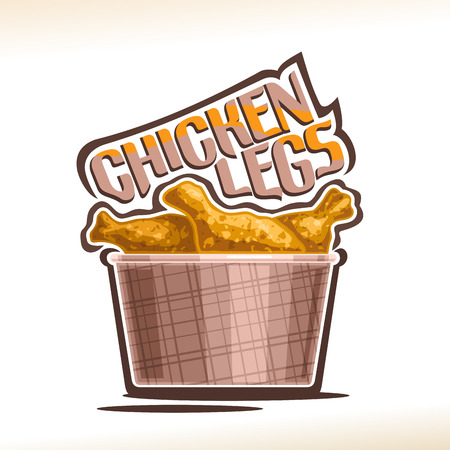 Vector logo for crispy Chicken Legs, poster with fatty barbecue drumsticks in brown carton mini bucket, original typeface for words chicken legs, illustration of label for american fastfood cafe menu.