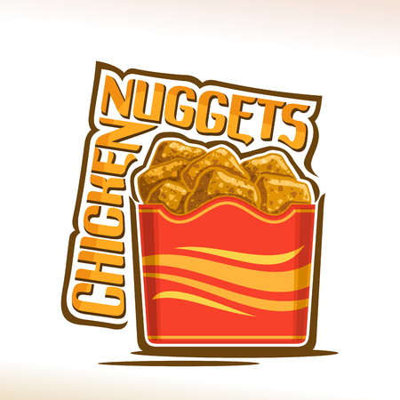 Vector logo for crispy Chicken Nuggets, poster with fatty fried poultry pieces in red carton pocket, original typeface for words chicken nuggets, illustration of label for american fastfood cafe menu. Illustration