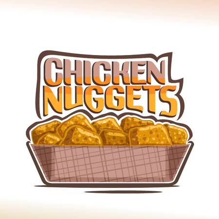 Vector  for crispy Chicken Nuggets, poster with pile of fried poultry pieces in cardboard plate, original typeface for words chicken nuggets, illustration of label for american fastfood cafe menu.
