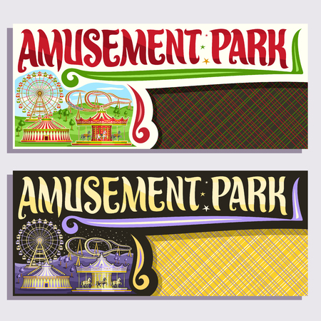 Vector tickets for Amusement Park with copy space, cartoon ferris wheel, roller coaster, vintage merry go round carrousel with horses, circus big top, original brush typeface for words amusement park. Illustration