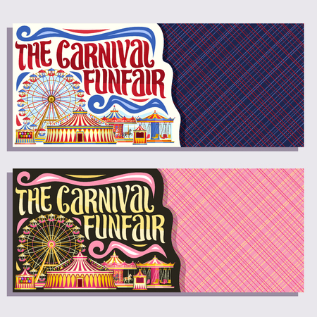 Theme banners for Carnival Funfair with copyspace, tickets with circus big top, merry go round carrousel and ferris wheel in day and evening, original brush typeface for words the carnival funfair.