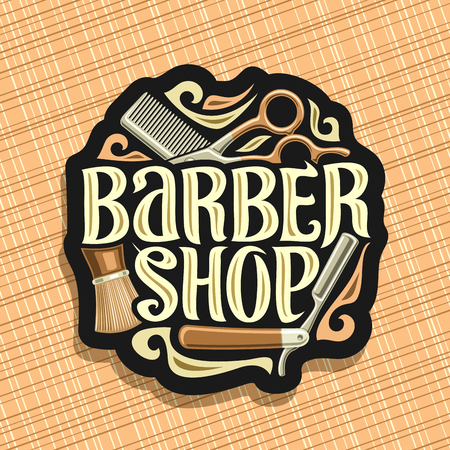 Vector logo for Barber Shop, dark sign with professional beauty accessories, original brush typeface for words barber shop, elegant design signage for barbershop salon on brown abstract background.