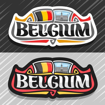 Thema für belgisches Land, Kühlschrankmagnet mit belgischer Flagge, ursprüngliche Pinselschrift für Wortbelgien und belgische Symbole - Königshaus oder Maison du Roi in Brüssel auf blauem bewölktem Himmelhintergrund.