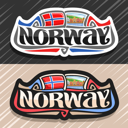 Theme for Norway country, fridge magnet with norwegian flag, original brush typeface for word norway and norwegian national symbol - old houses on coast of fjord on blue cloudy sky background.