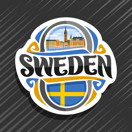 Theme for Sweden country, fridge magnet with swedish flag, original brush typeface for word sweden and swedish symbol - Riddarholmen church in Stockholm near river on blue cloudy sky background.