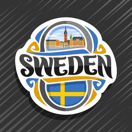 Thema für Schweden Land, Kühlschrankmagnet mit schwedischer Flagge, ursprüngliche Pinselschrift für Wortschweden und schwedisches Symbol - Riddarholmen-Kirche in Stockholm nahe Fluss auf blauem bewölktem Himmelhintergrund. Vektorgrafik