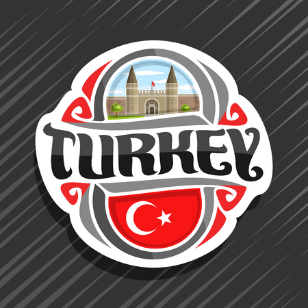 Theme for Turkey country, fridge magnet with turkish state flag, original brush typeface for word turkey and national turkish symbol - Topkapi palace in Istanbul on blue cloudy sky background.