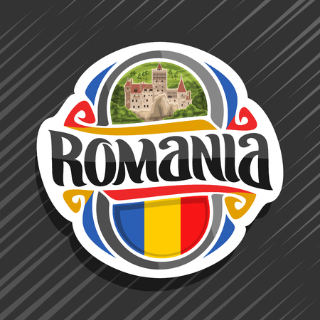 Theme for Romania country, fridge magnet with romanian state flag, original brush typeface for word romania and national romanian symbol - Bran castle in Transylvania on wild forest background.