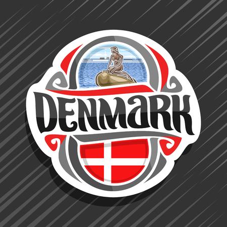 Tema per il paese della Danimarca, magnete del frigorifero con bandiera danese, carattere tipografico originale del pennello per la parola Danimarca e simboli danesi - statua della sirenetta a Copenaghen sullo sfondo del mare delle onde.