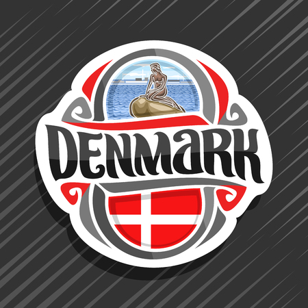 Theme for Denmark country, fridge magnet with danish flag, original brush typeface for word denmark and danish symbols - statue of little mermaid in Copenhagen on waves sea background.