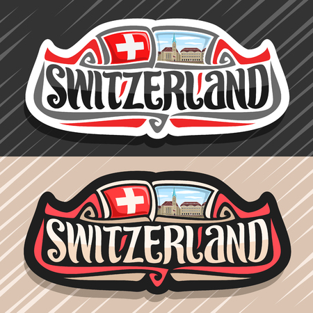 Vector logo for Switzerland country, fridge magnet with swiss flag, original brush typeface for word switzerland and national swiss symbol - Fraumunster church in Zurich on cloudy sky background.