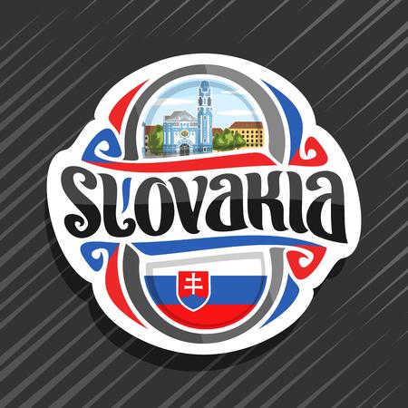 Wektor logo dla kraju Słowacji, magnes na lodówkę ze słowacką flagą, krój pisma dla słowa słowacja, narodowy symbol słowacki - niebieski kościół św. Elżbiety w Bratysławie na tle zachmurzonego nieba.