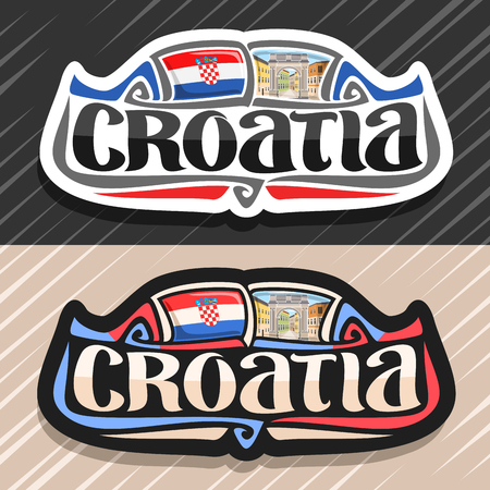Vector logo for Croatia country, fridge magnet with croatian flag, original brush typeface for word croatia and national croatian symbol - Triumphal Arch of Sergius in Pula on buildings background. Illustration
