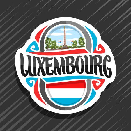 Vectorlogo voor Luxemburgs land, koelkastmagneet met Luxemburgse vlag, origineel penseellettertype voor woord luxemburg en nationaal symbool - standbeeld van Gelle Fra of Golden Lady op bewolkte hemelachtergrond