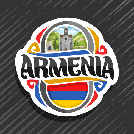 Vector  for Armenia country, fridge magnet with armenian state flag, original brush typeface for word armenia, national armenian symbol - bell tower in Haghpat Monastery on cloudy sky background.