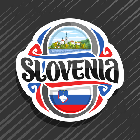 Vector  for Slovenia country, fridge magnet with slovenian state flag, original brush typeface for word slovenia and national slovenian symbol - Pilgrimage Church on island on mountains background