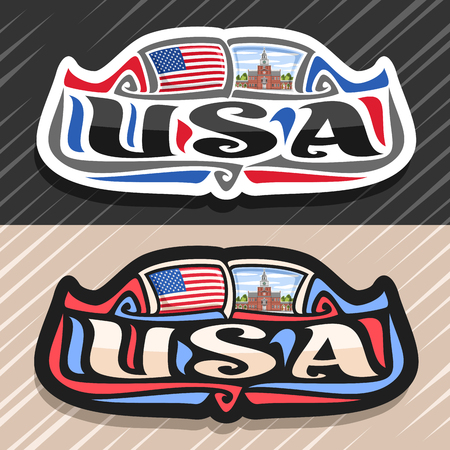 Vector logo for USA country, fridge magnet with flag of United States of America, original brush typeface for word usa and national symbol - Independence Hall in Philadelphia on cloudy sky background.