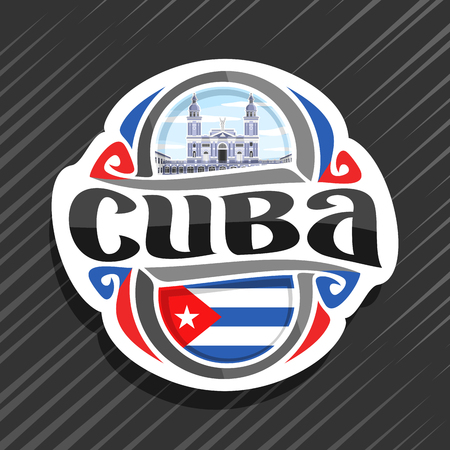 Vector logo for Cuba country, fridge magnet with cuban state flag, original brush typeface for word cuba and national cuban symbol - cathedral of Santiago de Cuba in Havana on cloudy sky background. Ilustracja