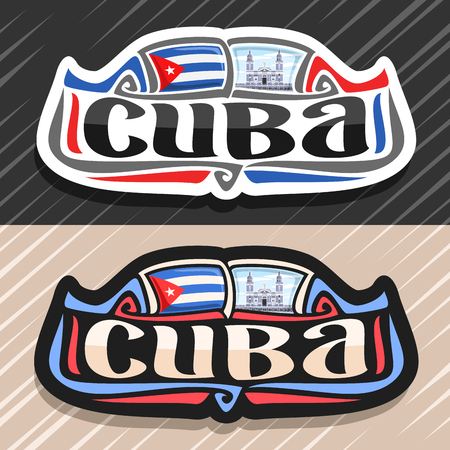 Vector logo for Cuba country, fridge magnet with cuban state flag, original brush typeface for word cuba and national cuban symbol - cathedral of Santiago de Cuba in Havana on cloudy sky background. Logo