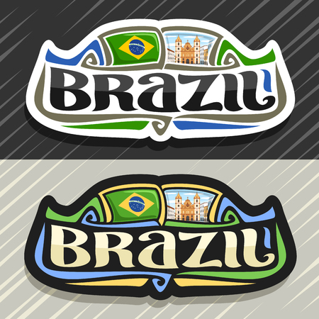 Vector logo for Brazil country, fridge magnet with brazilian flag, original brush typeface for word brazil and national brazilian symbol - Church of St. Francis in Salvador on cloudy sky background.