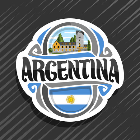Vector logo for Republic of Argentina, fridge magnet with argentinian flag, original brush typeface for word argentina, argentinian symbol - civic center in San Carlos de Bariloche on sky background. Logo