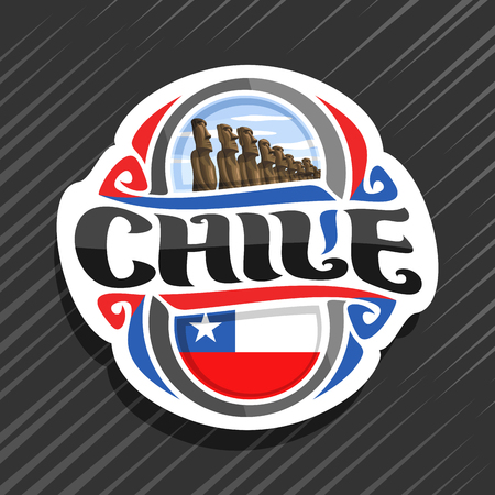 Vector logo for Chile country, fridge magnet with chilean state flag, original brush typeface for word chile and national chilean symbol - stone moai statues on Easter island on cloudy sky background.