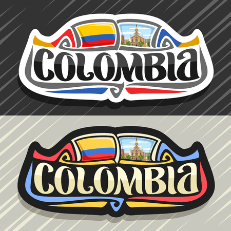 Vector logo for Colombia country, fridge magnet with colombian flag, original brush typeface for word colombia, national colombian symbol - Jesus Nazareno church in Medellin on cloudy sky background.