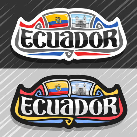 Vector logo for Ecuador country, fridge magnet with ecuadorian flag, original brush typeface for word ecuador, national ecuadorian symbol - Monastery of St. Francis in Quito on cloudy sky background.  イラスト・ベクター素材