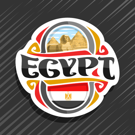 Vector logo for Egypt country, fridge magnet with egyptian state flag, original brush typeface for word egypt and national egyptian symbol - pyramids in Giza and Sphinx on blue cloudy sky background. Logo