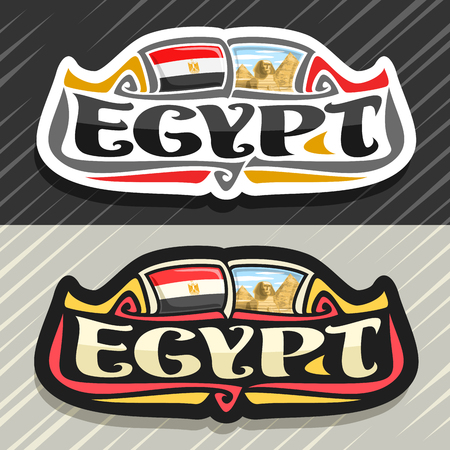 Vector logo for Egypt country, fridge magnet with egyptian state flag, original brush typeface for word egypt and national egyptian symbol - pyramids in Giza and Sphinx on blue cloudy sky background.