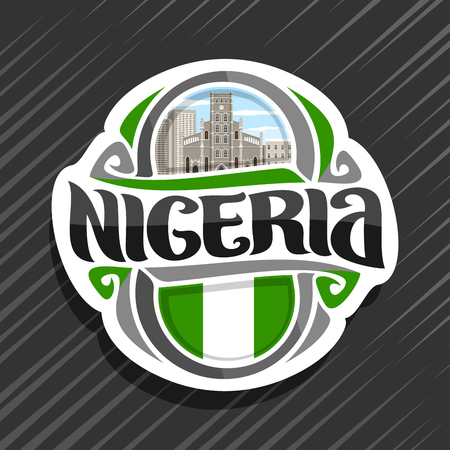 Vector logo for Nigeria country, fridge magnet with nigerian flag, original brush typeface for word nigeria and national nigerian symbol - cathedral church of Christ in Lagos on cloudy sky background. Illustration