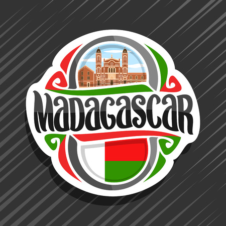 Vector logo for Madagascar country, fridge magnet with madagascan state flag, original brush typeface for word madagascar and national madagascan symbol - cathedral in Betafo on cloudy sky background.