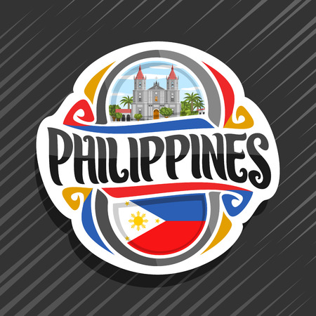 Vector logo for Philippines country, fridge magnet with filipino state flag, original brush typeface for word philippines and national filipino symbol - Molo church in Iloilo on cloudy sky background. Ilustração